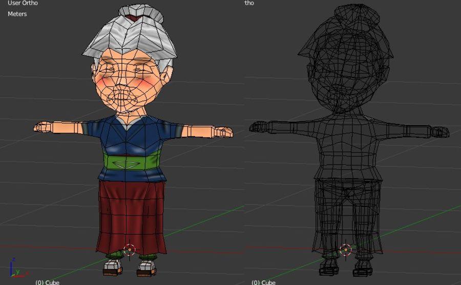 Chibi Oldwoman royalty-free 3d model - Preview no. 5