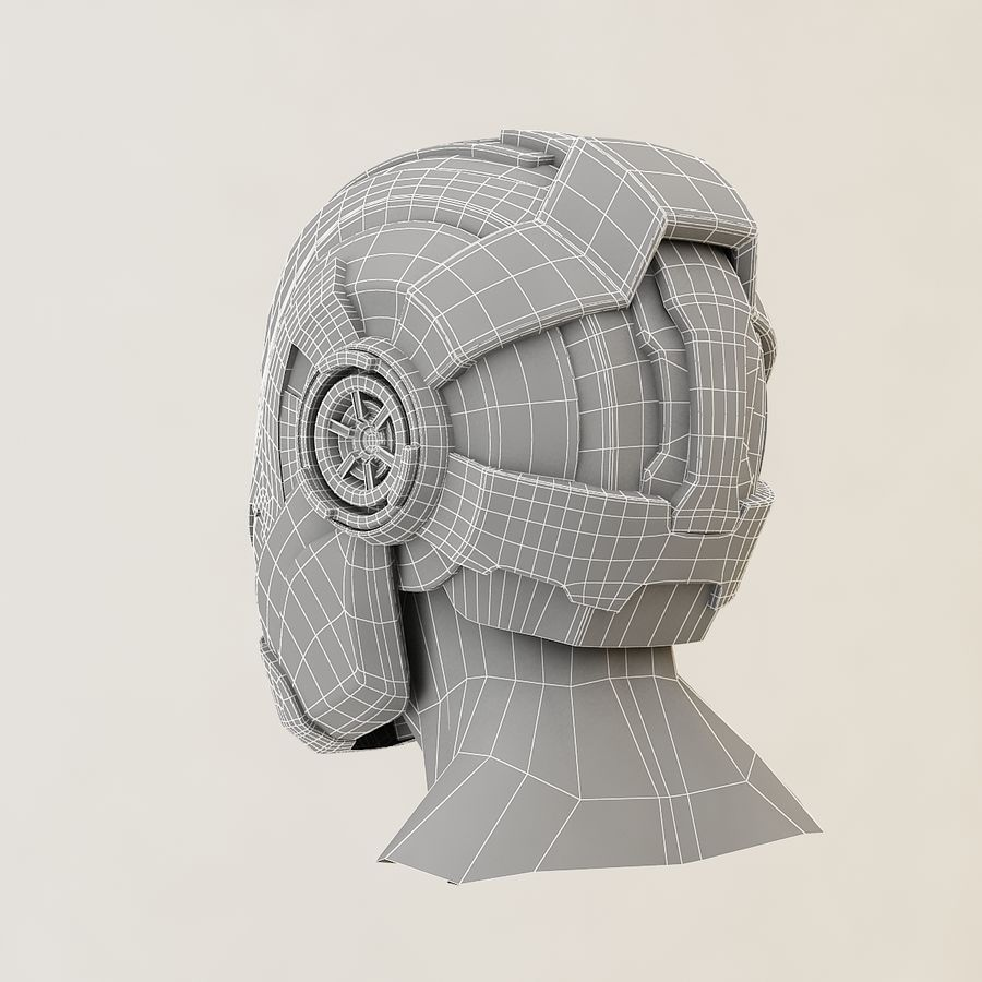 Sci-fi Helmet royalty-free 3d model - Preview no. 11