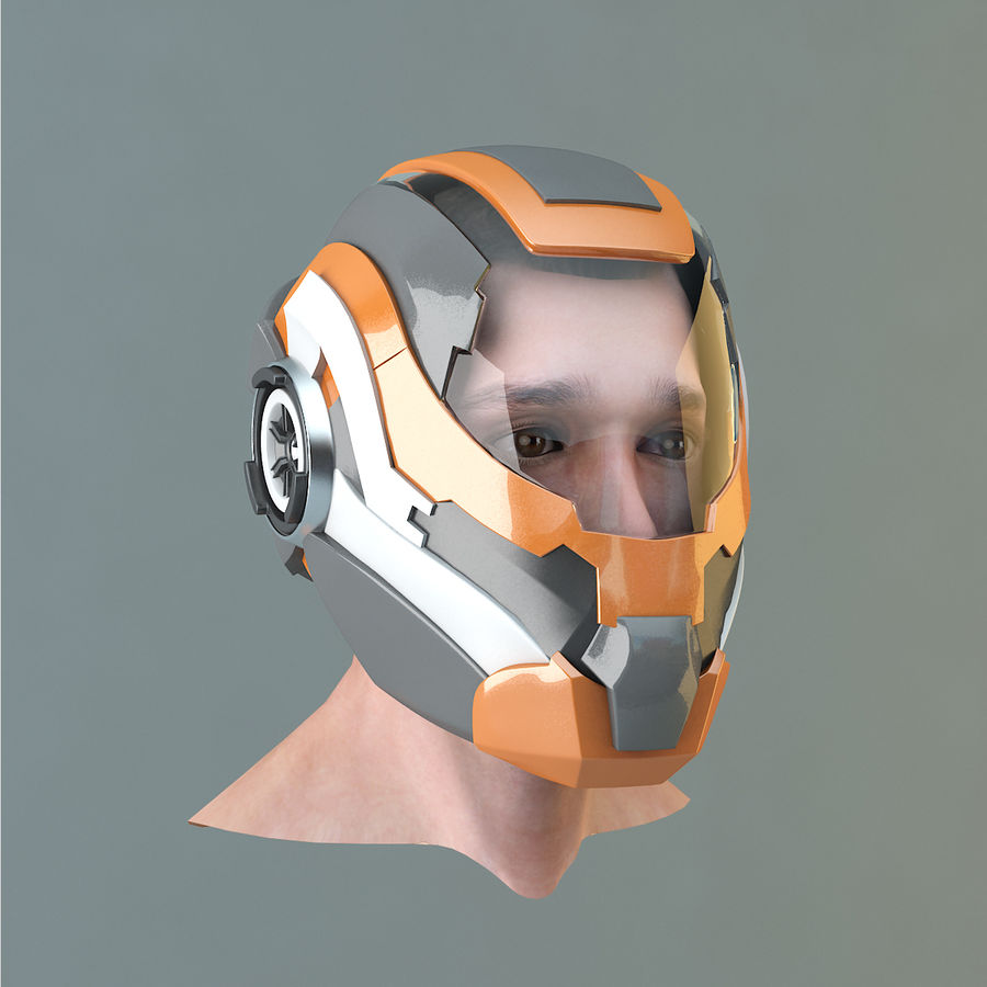 Sci-fi Helmet royalty-free 3d model - Preview no. 3
