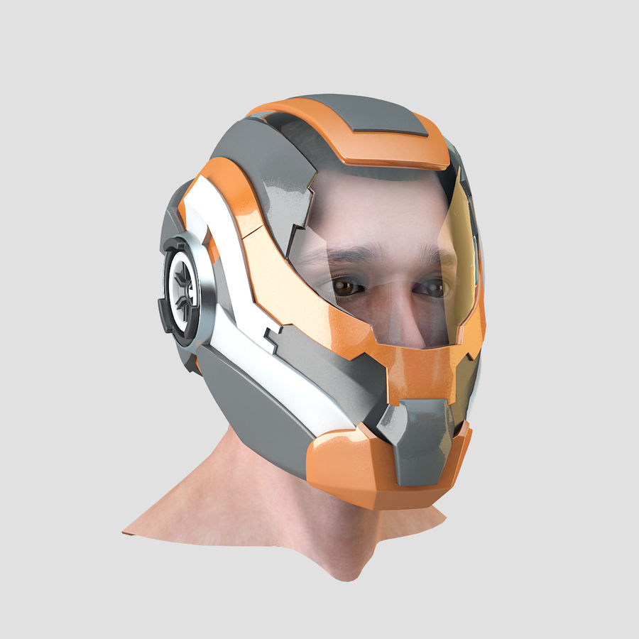 Sci-fi Helmet royalty-free 3d model - Preview no. 4