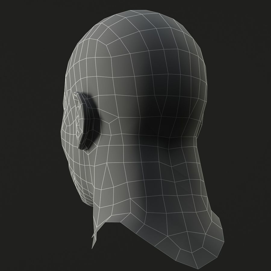 人間の頭(男性) royalty-free 3d model - Preview no. 12