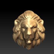 escultura de cabeça de leão 3d model