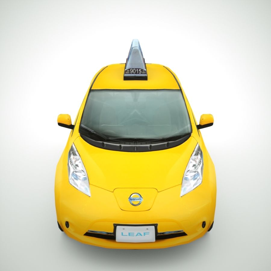 2013 Nissan  LEAF taxi royalty-free 3d model - Preview no. 6