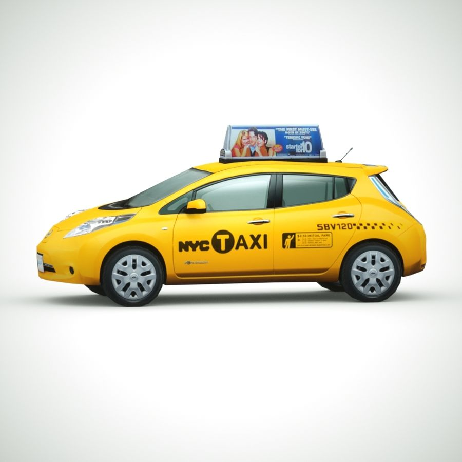 2013 Nissan  LEAF taxi royalty-free 3d model - Preview no. 1
