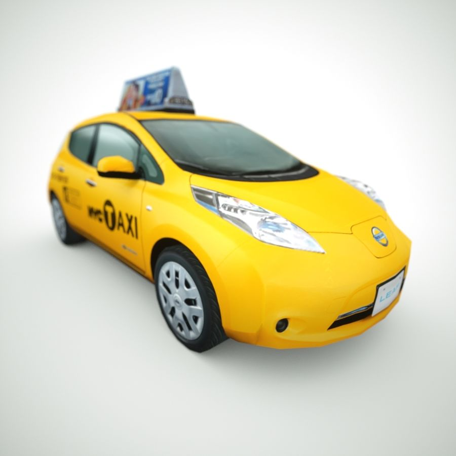 2013 Nissan  LEAF taxi royalty-free 3d model - Preview no. 7