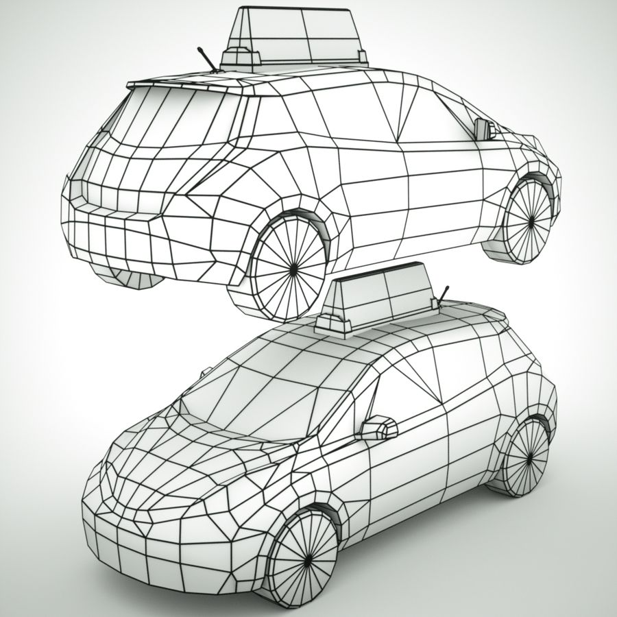 2013 Nissan  LEAF taxi royalty-free 3d model - Preview no. 8