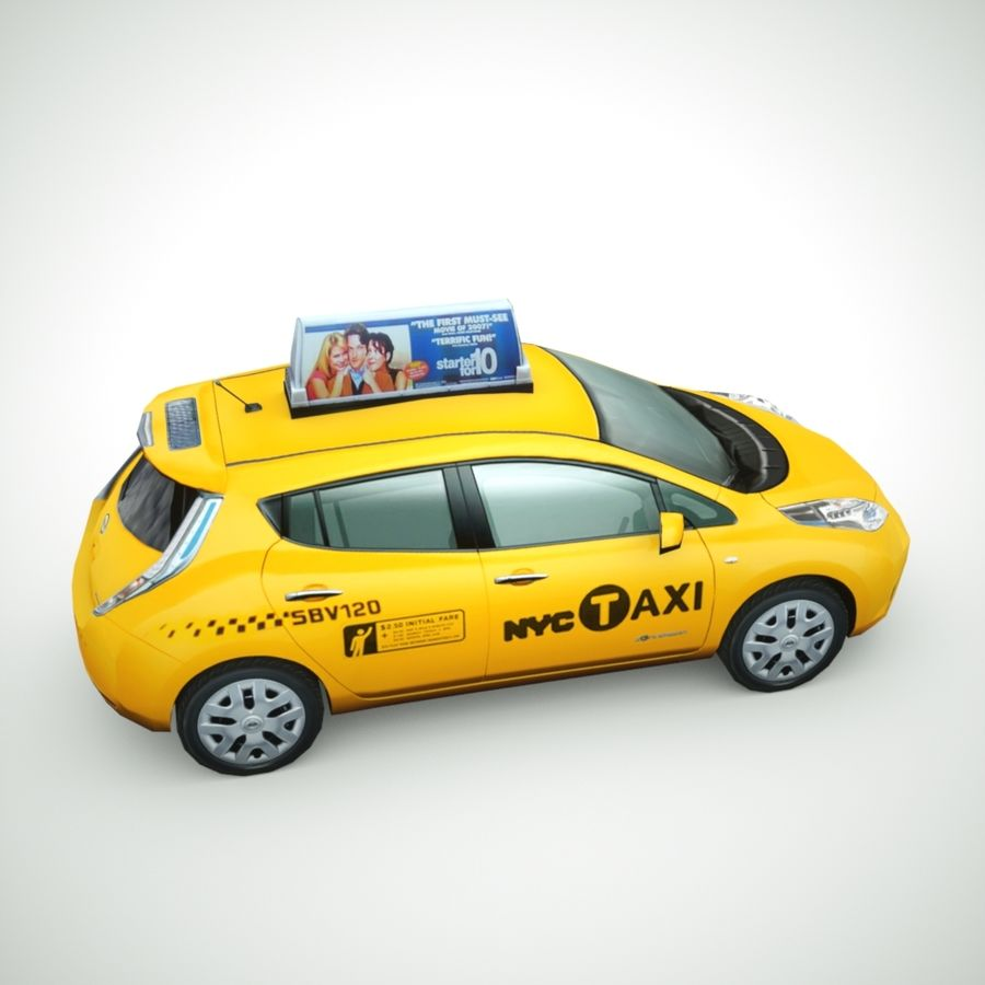 2013 Nissan  LEAF taxi royalty-free 3d model - Preview no. 3