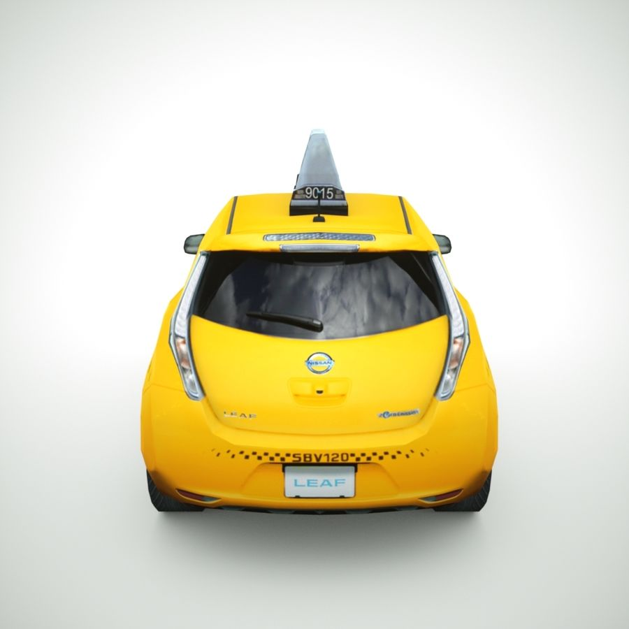 2013 Nissan  LEAF taxi royalty-free 3d model - Preview no. 5