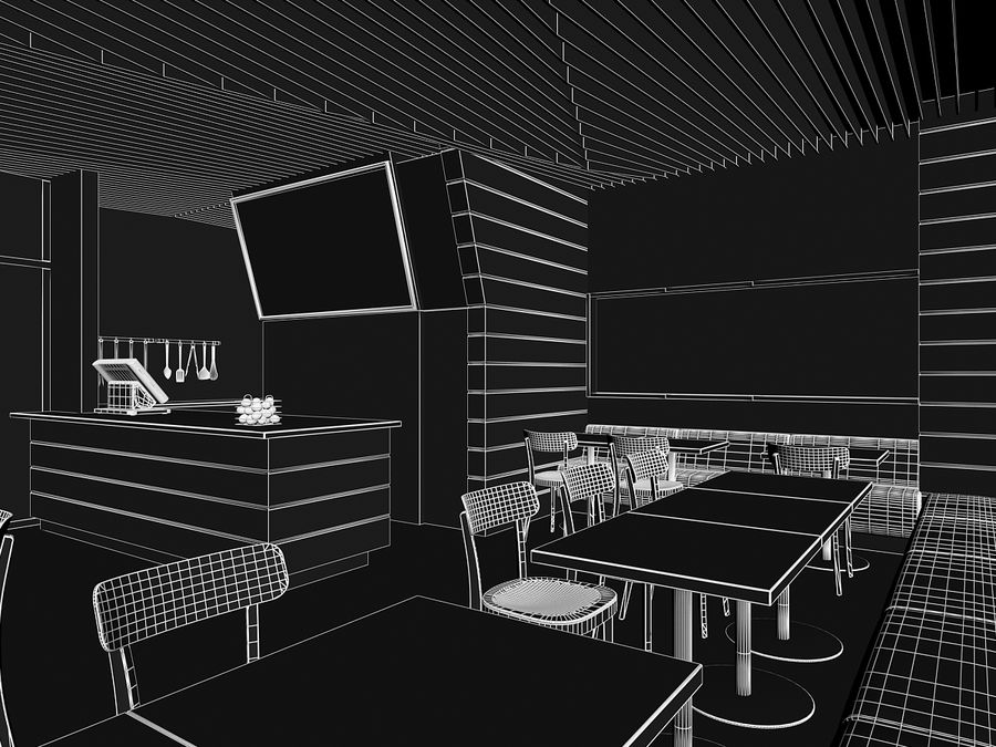 Restaurant Fastfood royalty-free 3d model - Preview no. 5