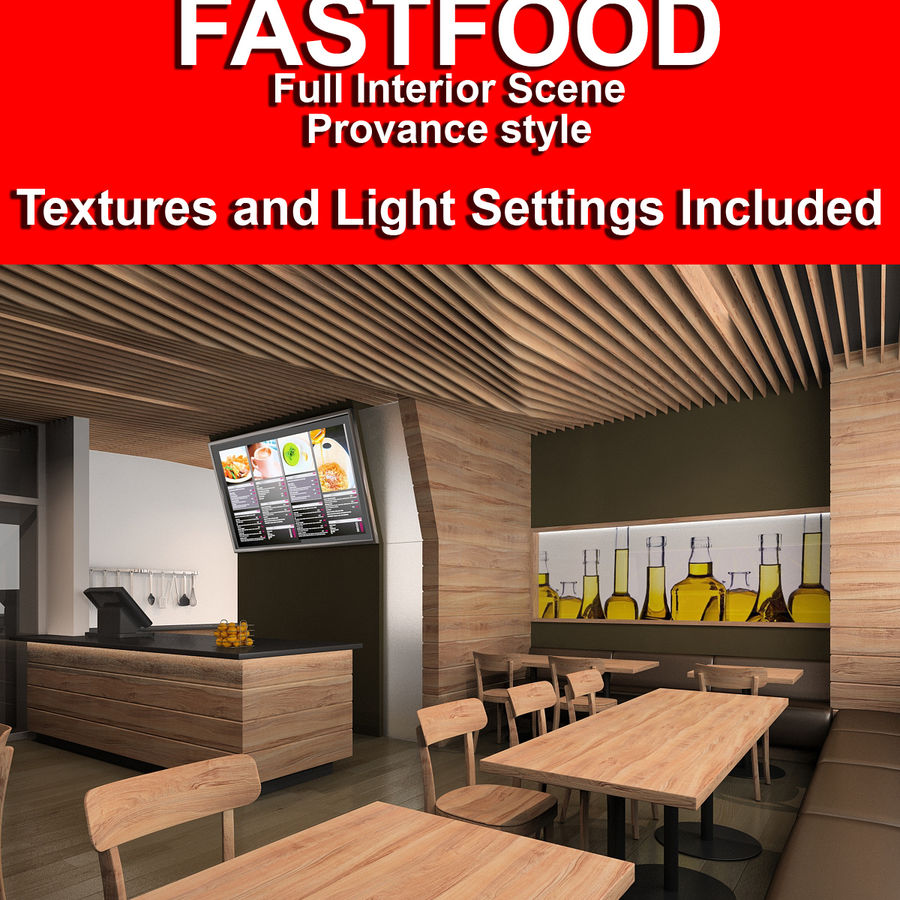 Restaurant Fastfood royalty-free 3d model - Preview no. 1