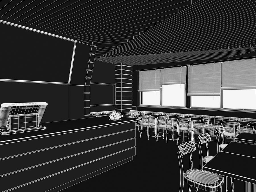 Restaurant Fastfood royalty-free 3d model - Preview no. 6