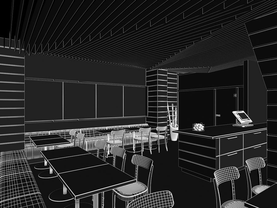 Restaurant Fastfood royalty-free 3d model - Preview no. 7