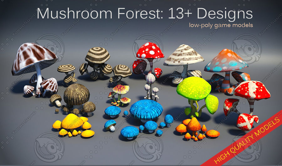 Mushroom Forest Pack royalty-free 3d model - Preview no. 1