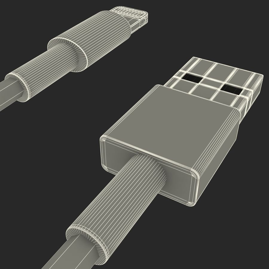 Apple Lightning Cable USB Connector royalty-free 3d model - Preview no. 19