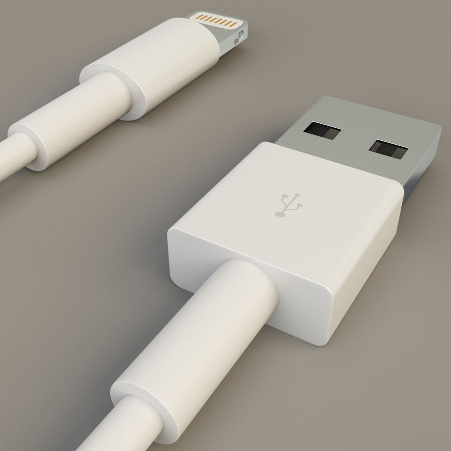 Apple Lightning Cable USB Connector royalty-free 3d model - Preview no. 10
