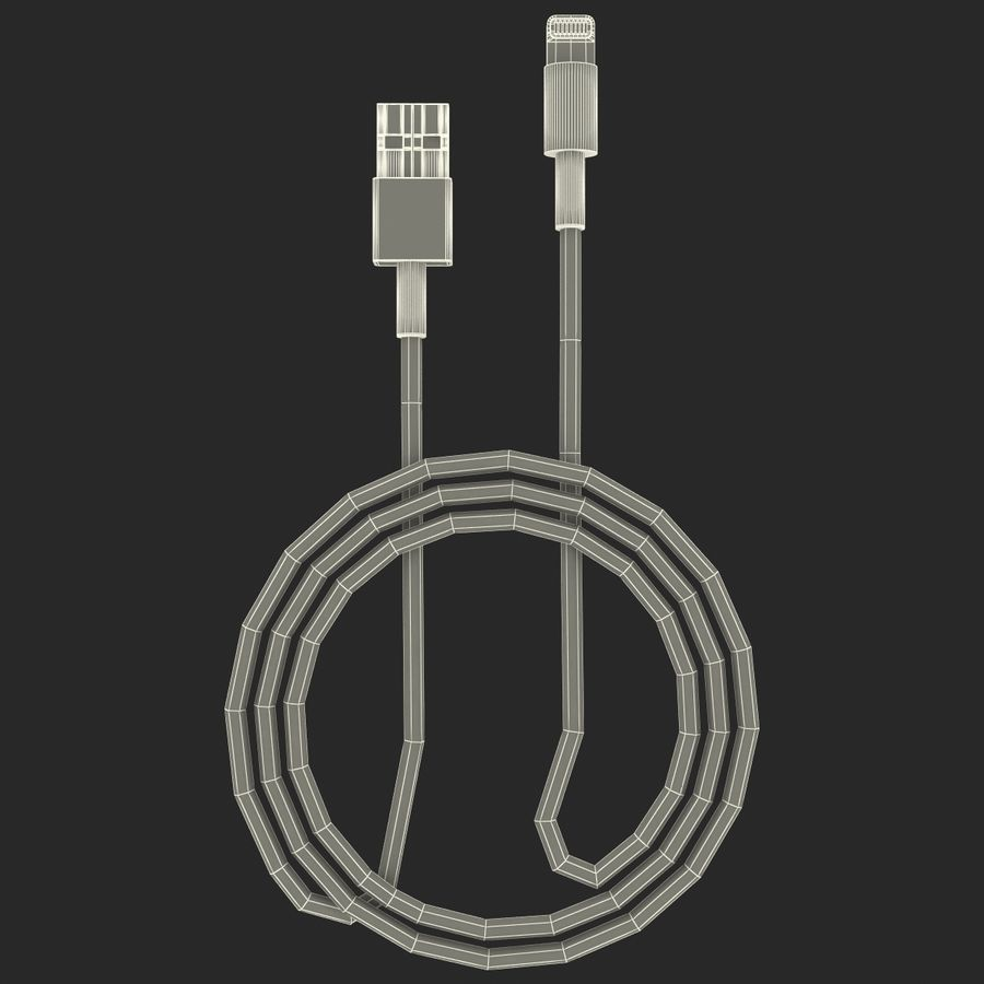 Apple Lightning Cable USB Connector royalty-free 3d model - Preview no. 14