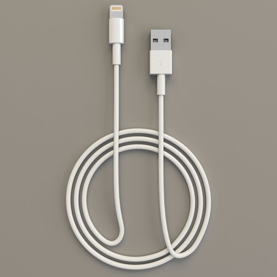 Apple Lightning Cable USB Connector royalty-free 3d model - Preview no. 4