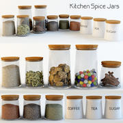 Kitchen Spice Jars 3d model