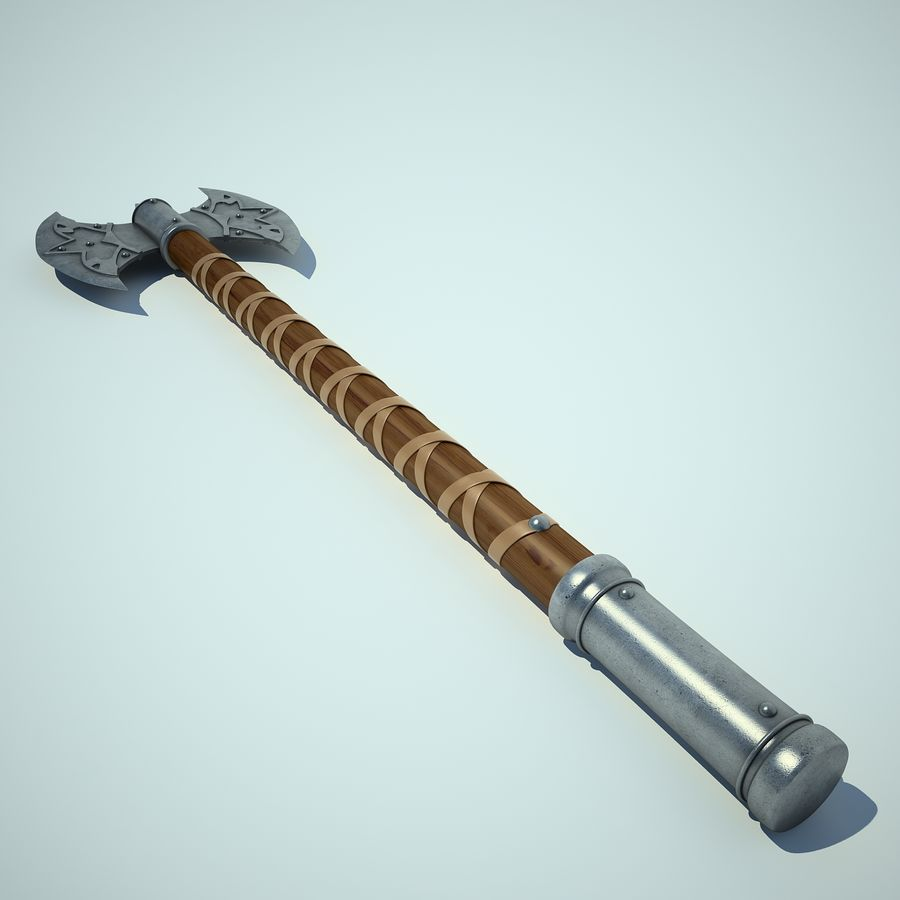 Battle Axe 01 royalty-free 3d model - Preview no. 7