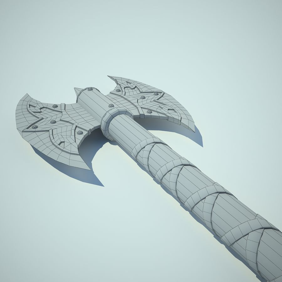 Battle Axe 01 royalty-free 3d model - Preview no. 10
