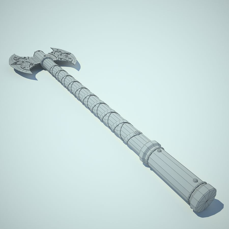 Battle Axe 01 royalty-free 3d model - Preview no. 8