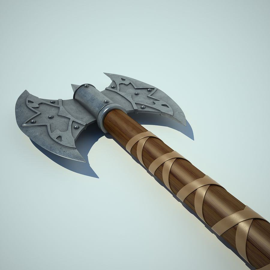 Battle Axe 01 royalty-free 3d model - Preview no. 9