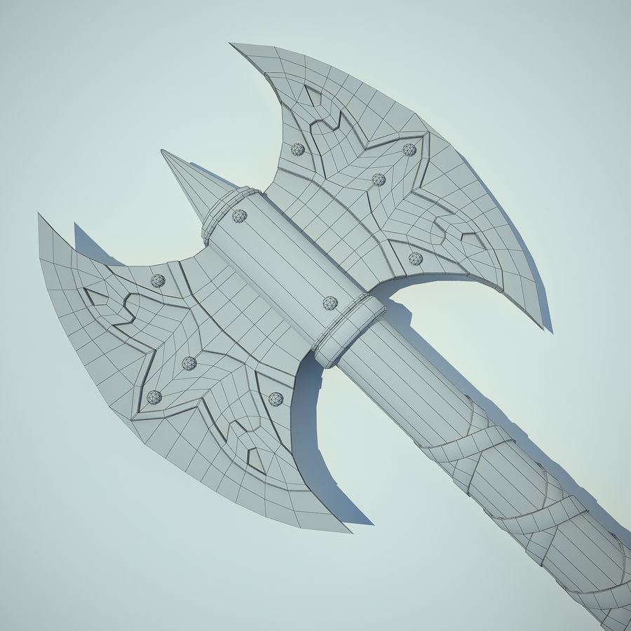 Battle Axe 01 royalty-free 3d model - Preview no. 12