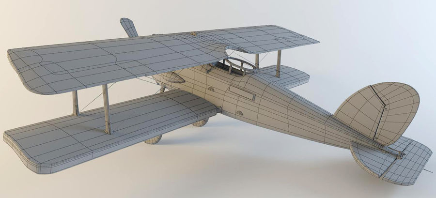 Airplane WW1 royalty-free 3d model - Preview no. 4