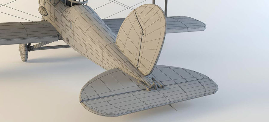 Airplane WW1 royalty-free 3d model - Preview no. 14