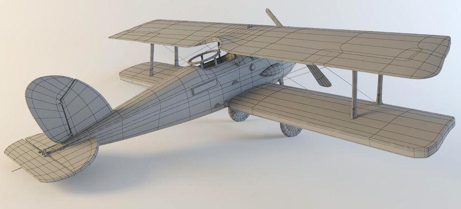 Samolot WW1 royalty-free 3d model - Preview no. 6
