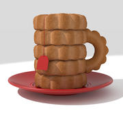 Tea cup made from cookies 3d model