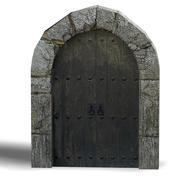 Middeleeuwse poort 01 laag poly 3d model