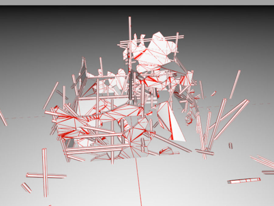 Ruined destroyed Building royalty-free 3d model - Preview no. 15