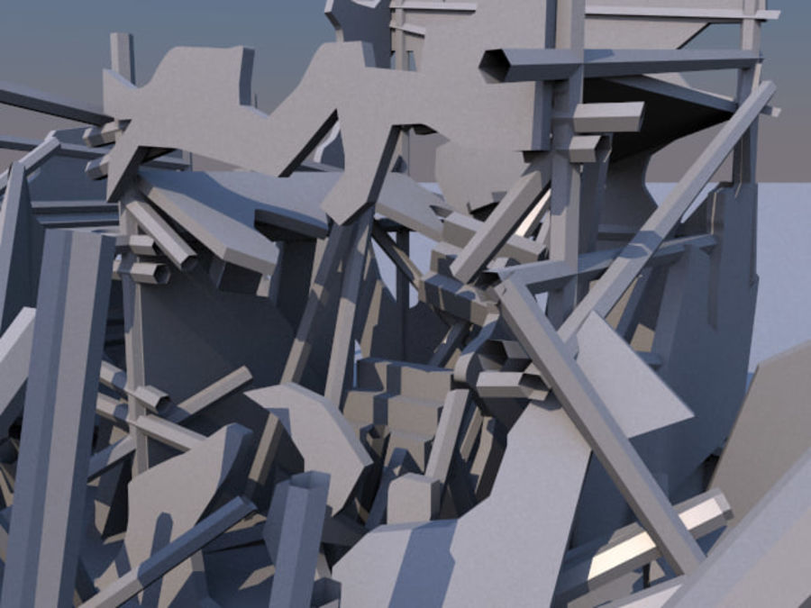 Ruined destroyed Building royalty-free 3d model - Preview no. 8
