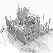 Zniszczony zniszczony budynek 3d model