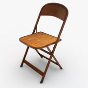 Folding Metal & Wood Chair 3d model