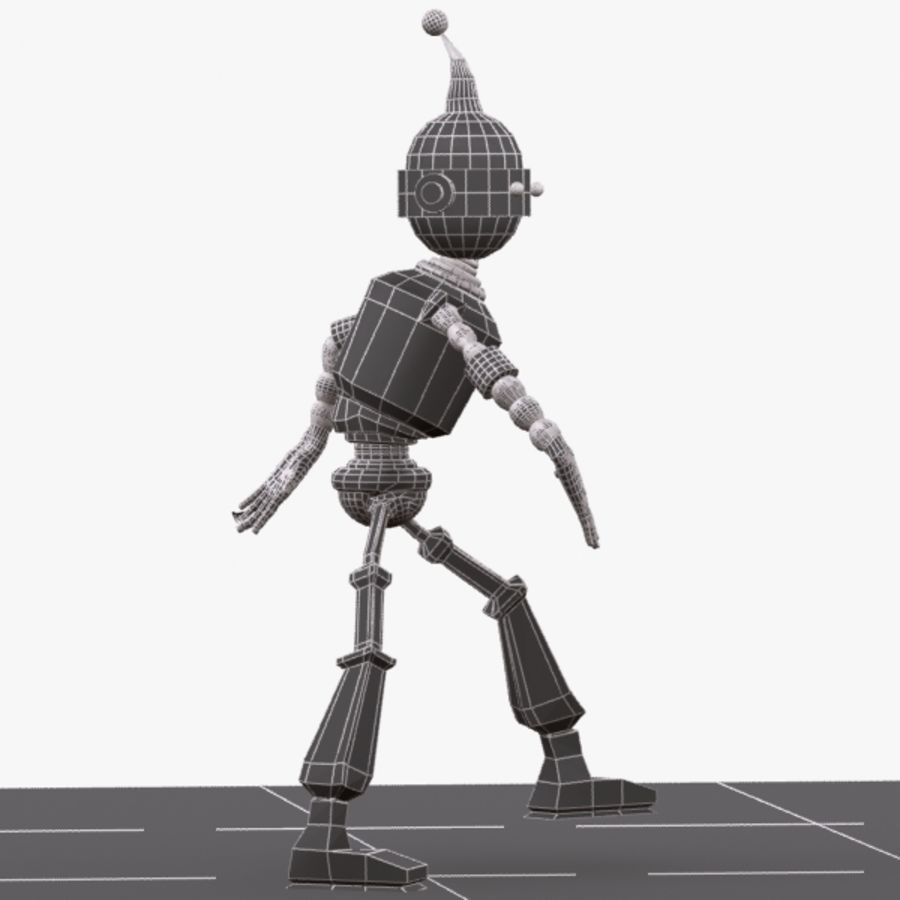 Rigged Robot Character royalty-free 3d model - Preview no. 10