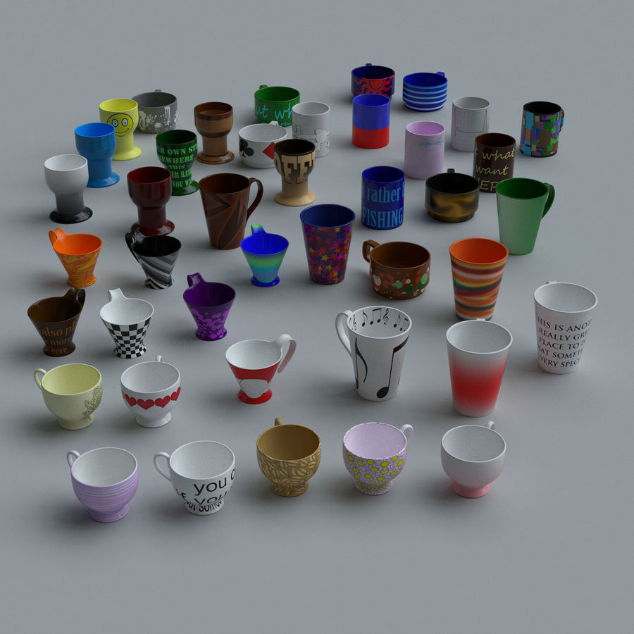 Coffee cups royalty-free 3d model - Preview no. 1