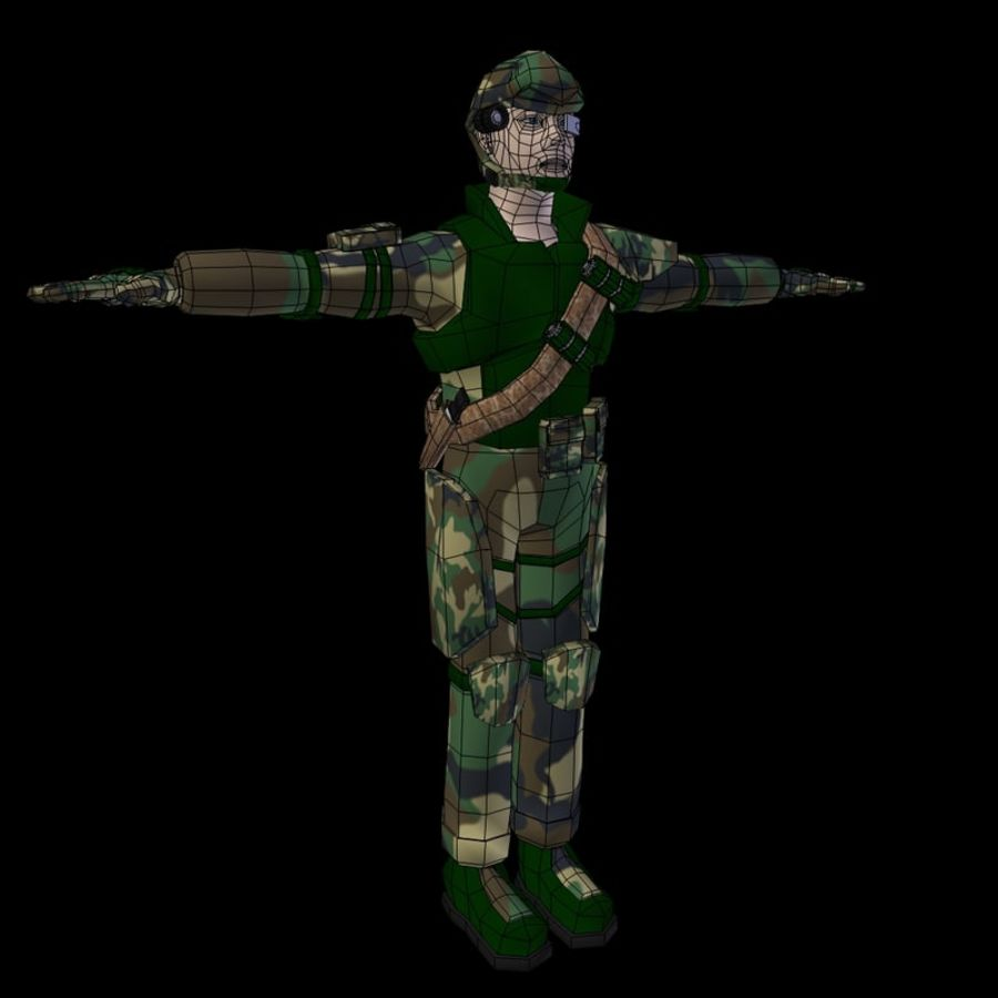 RIGGED Low Poly Soldier royalty-free 3d model - Preview no. 4