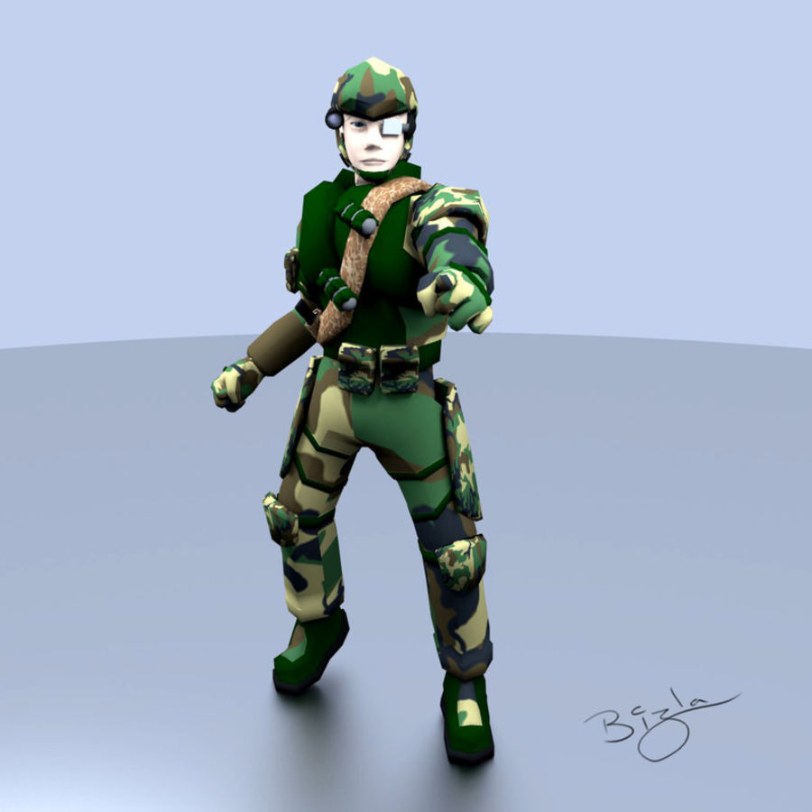 RIGGED Low Poly Soldier royalty-free 3d model - Preview no. 1