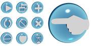 Ícones de ações multimídia de vidro 3D 3d model