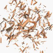 Hölzerner Planken-Bauholz-Rückstand, der Ausschnitt-Schnitt-Schreiner Woodwork Sawdust Saw Forest Sawmill Lumbermill-Bauholz rasiert 3d model