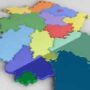 Административная карта Германии 3d model