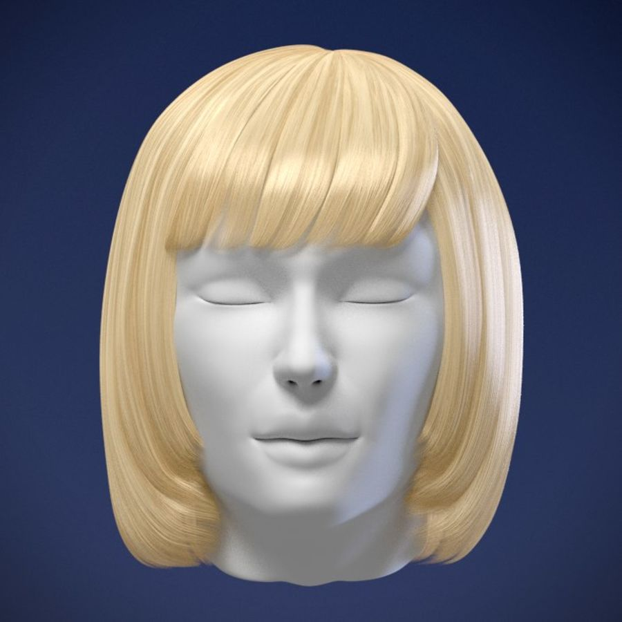 Impacco di capelli femminili royalty-free 3d model - Preview no. 7