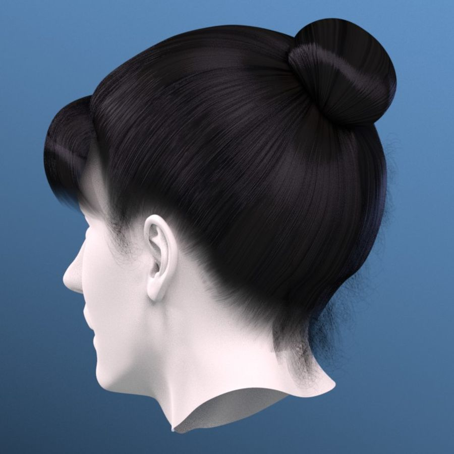 Impacco di capelli femminili royalty-free 3d model - Preview no. 3