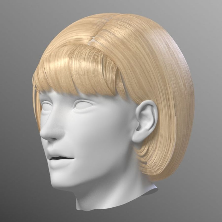Impacco di capelli femminili royalty-free 3d model - Preview no. 11
