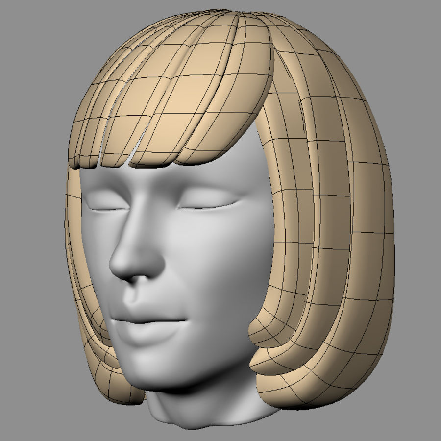 Impacco di capelli femminili royalty-free 3d model - Preview no. 10