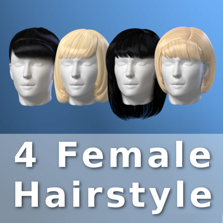Impacco di capelli femminili royalty-free 3d model - Preview no. 22
