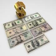 Banknoty w dolarach amerykańskich 3d model