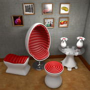 Space Age Design Furniture Suite Egg Chair 3d model